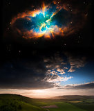 Countryside sunset landscape with planets in night sky Elements
