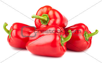 Four red ripe peppers