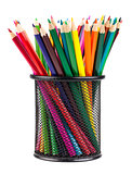 Set of color pencils in a basket