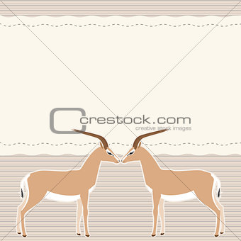 Card with two gazelles