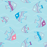 Seamless pattern with fish and waves