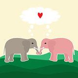 Two elephants in love