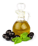 olive oil in bottle and fresh basil