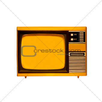 old frame television with isolated