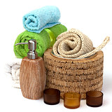Ceramics Shampoo bottle with towels