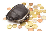 Black leather purse and several euro coins on white background