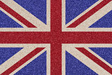 British flag made ​​of colored decorative sand.