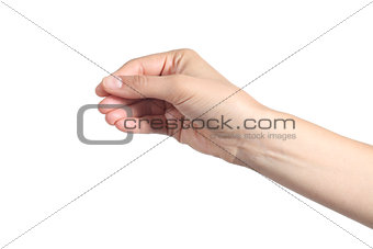Beautiful woman hand showing something like a blank business