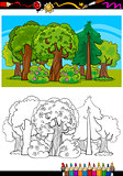 trees and forest cartoon for coloring book