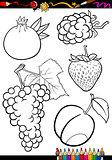 cartoon fruits set for coloring book