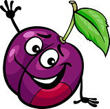 funny plum fruit cartoon illustration