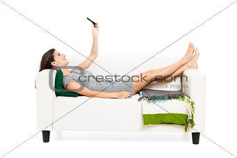 Woman sending sms