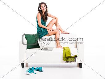 Beautiful woman in the sofa
