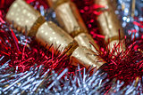 Christmas Crackers & Red & Silver Tinsel