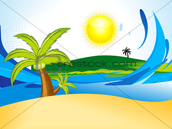 abstract summer background with coconut tree
