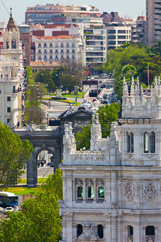 Aerial view of Madrid  / Famous Alcala Gate, builldings and stre