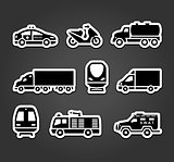 Set of stickers, transport symbols