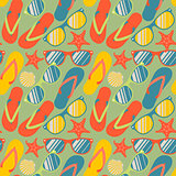 Seamless pattern with colorful flip flops, vector Eps10 image.