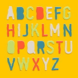 Handmade color paper crafting alphabets, vector Eps10 image.