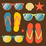 Pattern with flip flops and sunglasses, vector Eps10 image.