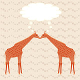 Two giraffes over stripy background