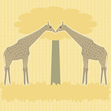 Two giraffes under tree vector