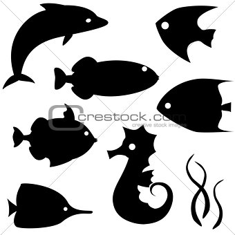 Fish silhouettes vector set 2