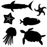 Fish silhouettes vector set 5