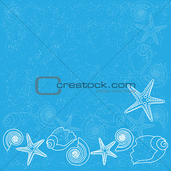 Blue background with sea life