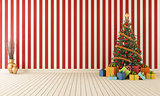 Wooden room with christmas-tree