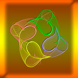 Abstract color composition of openwork elements  on a gradient b