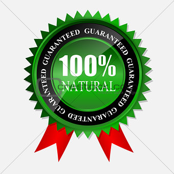 100% natural green label isolated on white.vector illustration