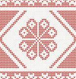 seamless knitted pattern with red flower