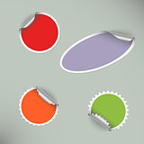 Set of colored blank round stickers
