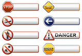 Danger, prohibition sign banner collection