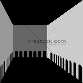 Abstract architectural background. Hall with arches gallery.