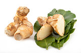 Galangal root, kaffir lime leaves