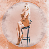 Happy american style pin-up girl on retro chair