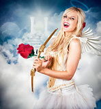Heavenly angel of love with flower arrow