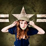 American army Pinup girl. Grunge fashion style