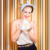 Happy cafe waitress holding hot coffee kettle