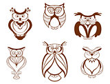 Set of cartoon owl birds