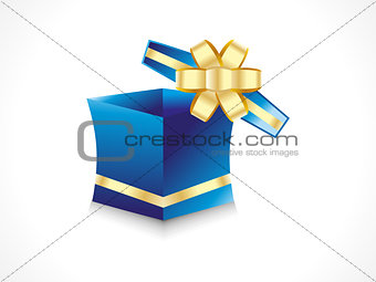 abstract gift box with golden ribbon