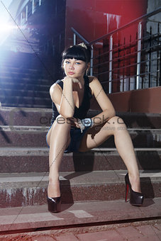 sexy woman on steps