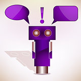 Violet Robot with Message Bubbles. Vector Illustration