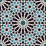 Arabesque seamless pattern in blue and black