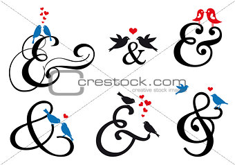 ampersand sign with birds, vector set