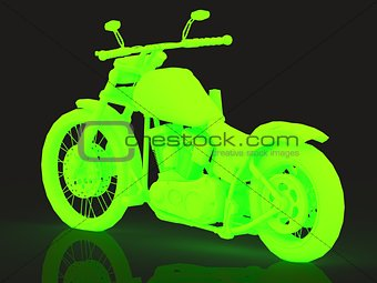 Concept of green glowing motorcycle