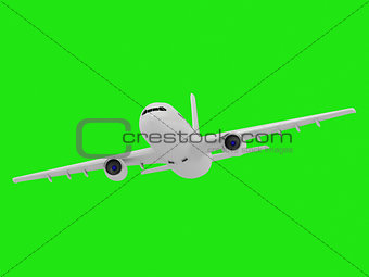 On a green screen white passenger airliner