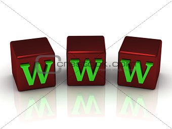 WWW message with bright green letters